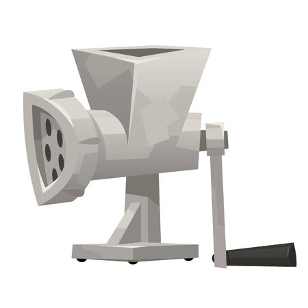 Iron meat grinder in cartoon style on white background vector