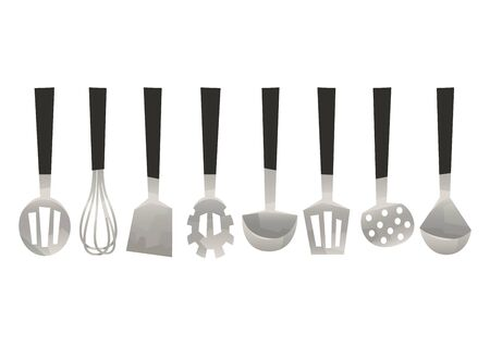 Vector set kitchen utensils corolla scoop spatula vector Ilustracje wektorowe