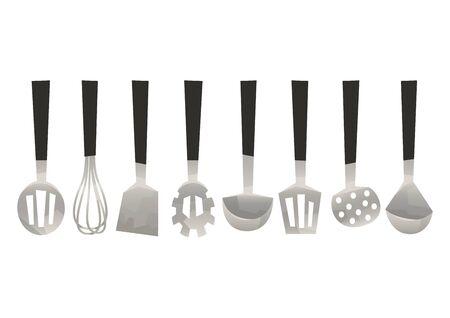 Vector set kitchen utensils corolla scoop spatula vector Vektoros illusztráció