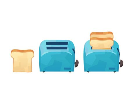 Blue toaster and bread in cartoon style isolated on white background vector