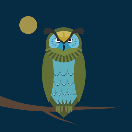 night owl: Night owl on the branch.Geometric shapes