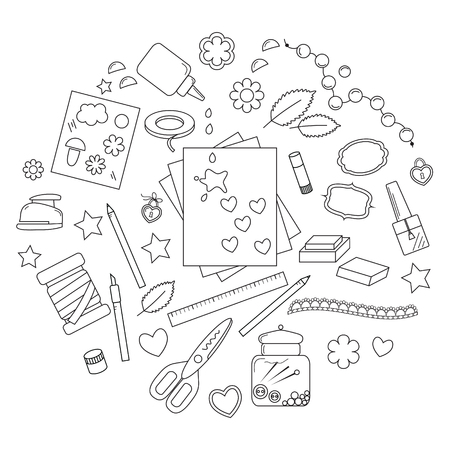 Collection of art supplies and tools for crafting, paper piecing and scrap booking.