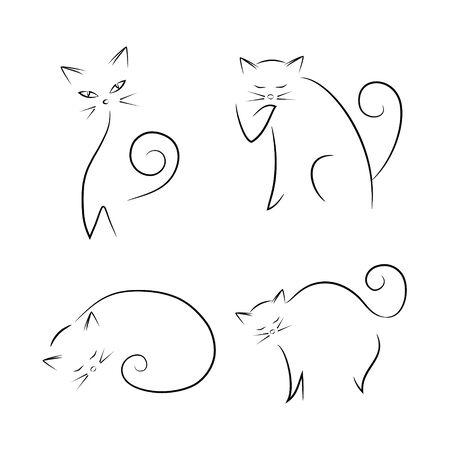 Katzen Hand gezeichnet Set.