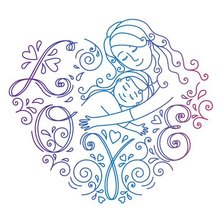 Colored motherly love concept isolated on a white background. Mother and daughter in love inside hearts.