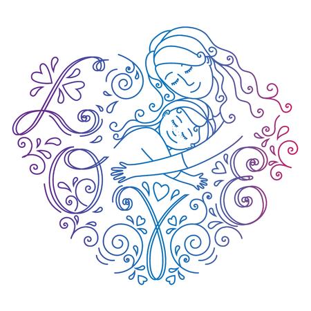 Gekleurde moederlijke liefde concept geïsoleerd op een witte achtergrond. Moeder en dochter in liefde binnen hart. Stock Illustratie