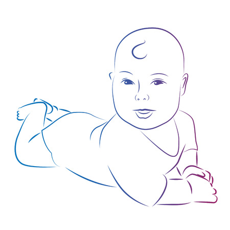 Baby silhouette. Baby lies and smiles illustration