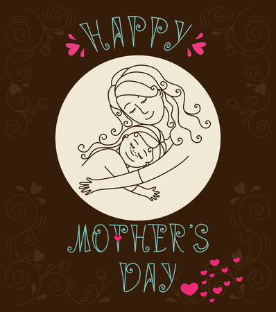 mother love: Happy mothers day card.Mother and daughter hugging