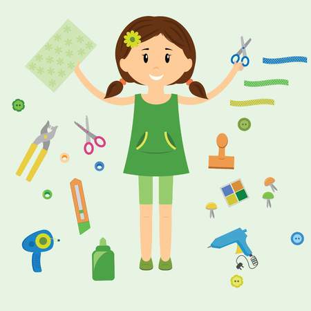 A girl is holding paper and scissors. Collection of art supplies and tools for crafting, paper piecing and scrapbooking. illustration