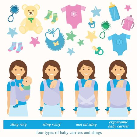 carriers: Four types of baby carriers and slings: sling ring, ergonomic baby carrier, mei tai baby carrier, aling scarf.Baby supplies.illustrations