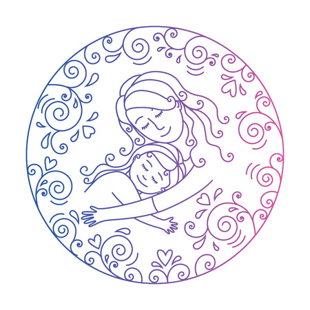 motherly love: Colored motherly love concept isolated on a white background. Mother and daughter in love inside round.Mother and daugther hug. Mother and baby.illustration