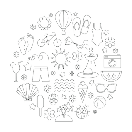 thin shell: Summer time linear icons set.  Travel, vacation, beach , hiking.  Design for web, postcard , poster. Black thin line icons. Isolated on white background.
