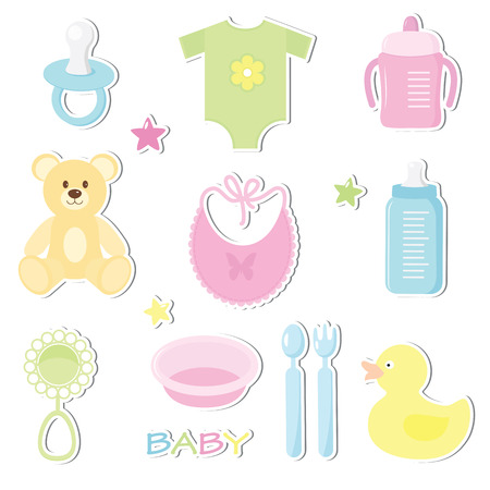 baby bear: Set of cute baby toy stickers. Design elements for baby shower card, scrapbooking, invitation. Stickers collection:  nipple, feeding cup , bottle , star , duck , fork, spoon, plate , bib , bear, rattle ,clothes. Isolated on white background. Illustration