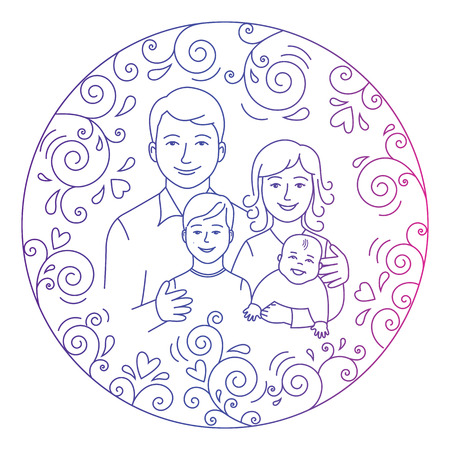 father daughter: Mother, father, daughter ans son in love inside round.Colored illustration isolated on a white background