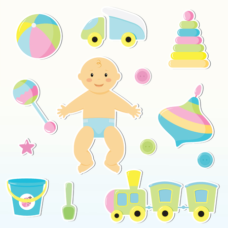 nipples: Set of cute baby toy stickers. Design elements for baby shower card, scrap booking, invitation. Stickers collection:car,a top,a ball,bucket,scoop,buttons,engines,childrens pyramid,sand pail, shovel, star, rattle. Illustration