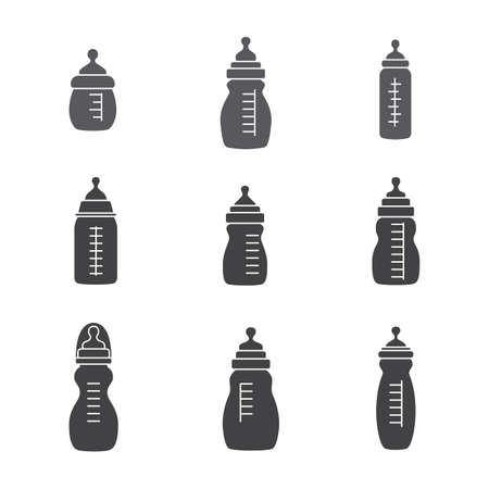 web desig: Set of nine feeding baby bottles .Black icons. Isolated on a white background . Design for web.