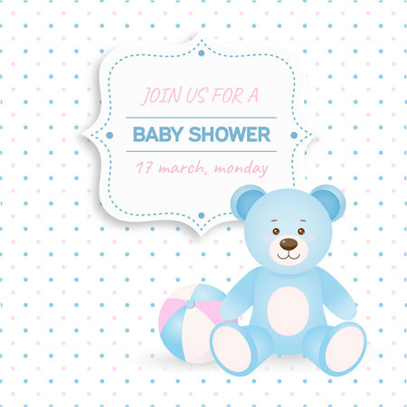 baby blue: Invitation baby shower card with blue teddy bear and ball.Card with place for your text. In cartoon style.