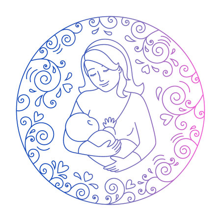 Mother breastfeeding.Nursing mother and baby in a round frame of curls and hearts. Concept of motherhood.Doodle style .