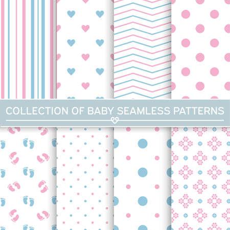 Set of baby seamless patterns.Pink and blue colors. Illusztráció