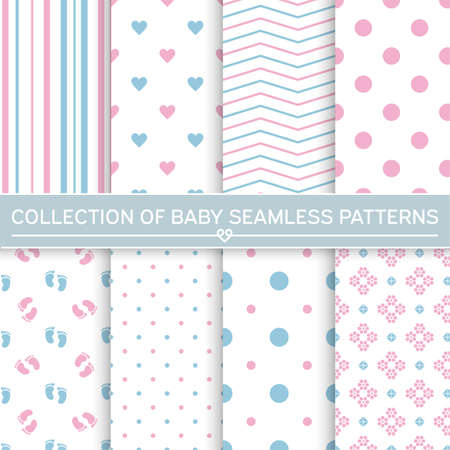 Set of baby seamless patterns.Pink and blue colors. Illustration