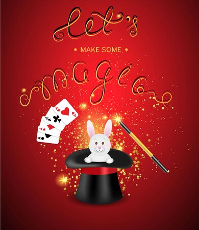 magician hat: Magician hat with a magic wand, magic shine and white rabbit on a red background with a place for your text. Magic show template.Vector illustration