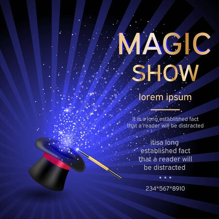 glow stick: Magician hat with a magic wand and magic shine on a blue background with a place for your text. Magic show template.Vector illustration Illustration