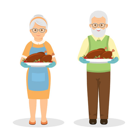 roasted turkey: Grandmother and grandfather with roasted turkey. Cartoon style.
