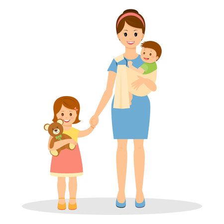 Smiling mother with son and daughter. Mother holding her baby in sling ring.Daughter holding teddy bear.