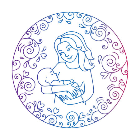 mother holding baby: Colored motherly love concept isolated on a white background. Mother holding baby in her arms inside round frame with hearts and whorls. Mother and baby.Vector illustration.Easy to change color