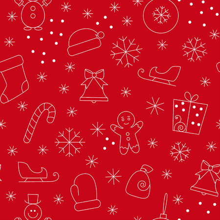 git: Seamless pattern with christmas simbols on red background.Seamless pattern included in swatch panel.Vector background.