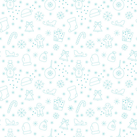 git: Seamless pattern with christmas simbols on white background.Seamless pattern included in swatch panel.Vector background. Illustration
