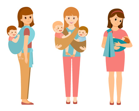 Three mothers with children in slings Stock Photo