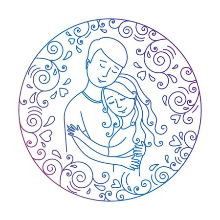 whorls: Colored  love concept isolated on a white background.  Man hugging woman inside round frame with hearts and whorls. Lovers.Vector illustration.Easy to change color.