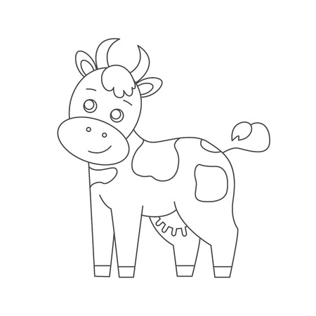 coloration: Cow for coloring book.