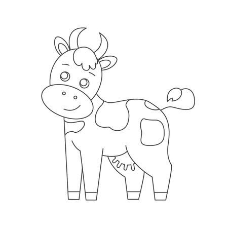 Dibujo Para Colorear. Color Me: Vaca. Vaca Manchada Linda Se Coloca ...