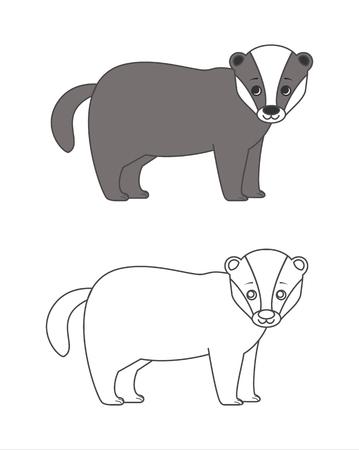 badger: Badger for coloring boo Illustration