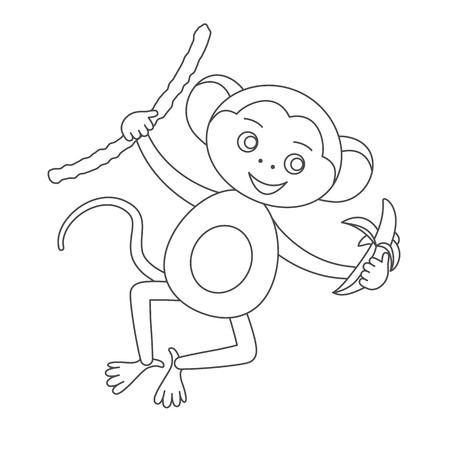 Mono Gracioso Con Plátano. Elemento De Diseño Para Tarjeta De Baby ...