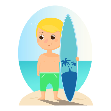 Cartoon surfer standing with a whiteboard on the beach