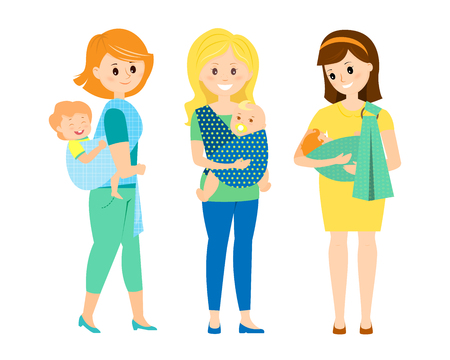 Three mothers with children in slings Illustration