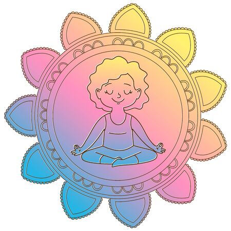 yogi: Girl in a circle of mandala Illustration