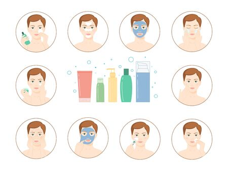 woman washing face: Instructions for facial care nutrition, moisturizing, toning, cl Illustration