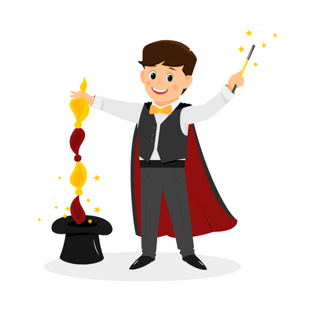 Magician with hat and magic wand. Illustration