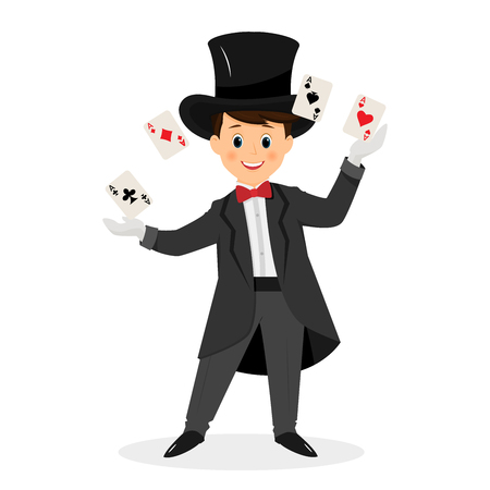 Magician with hat and playing cards. Illustration