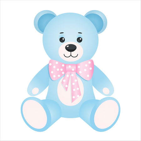 Teddy bear.Baby toy.  Isolated on white background. Vector illustration