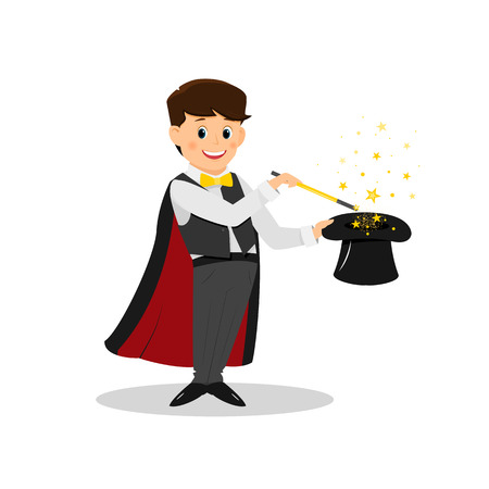 Magician with stars and magic wand. Stock Photo