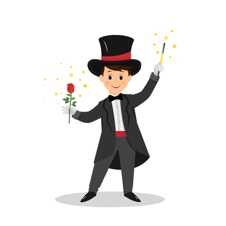 Magician with hat and magic wand. Stock Photo