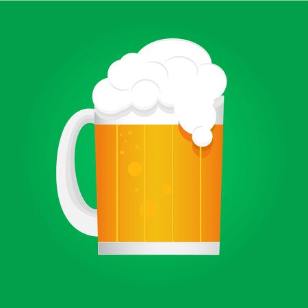 Beer mug with foam on a green background. Cartoon style. Vector illustration.