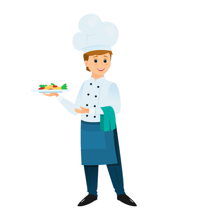Cartoon chef with a plate of dinner. Illustration