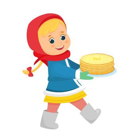 Girl with pancakes walking