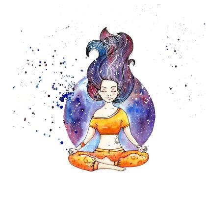 Girl in lotus pose.Watercolor.Hand drawn. White background. Foto de archivo
