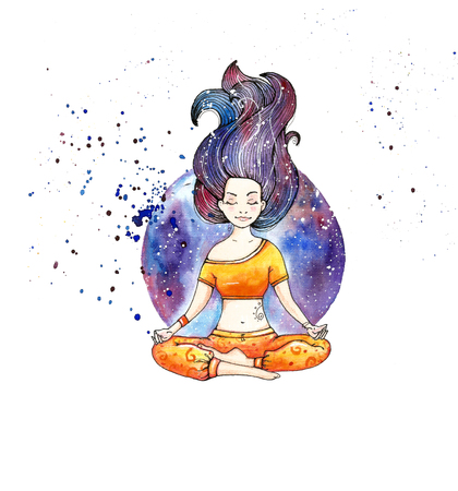 Girl in lotus pose.Watercolor.Hand drawn. White background. Stock Photo